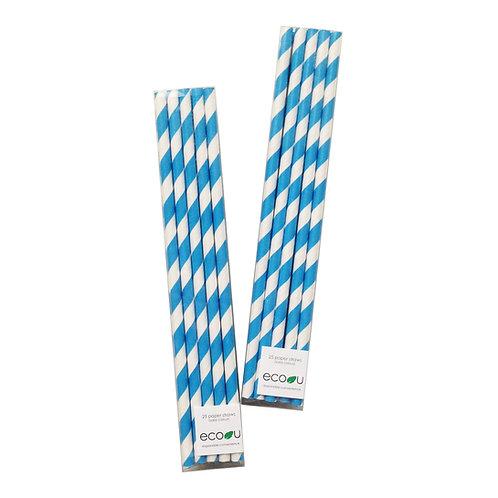 Striped Paper Straws (Blue)