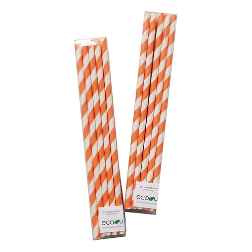 Striped Paper Straws (Orange)