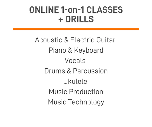 1-on-1 Online Music Classes + Drills