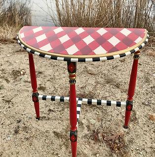 Handpainted Vintage Red/Black Demilune Table