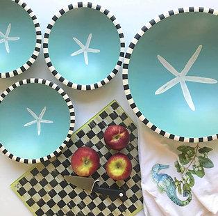 Starfish Vintage Wood Bowl