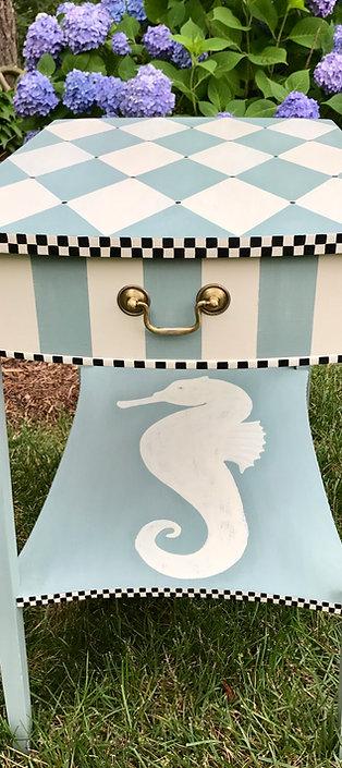 Handpainted Vintage Seahorse End Table