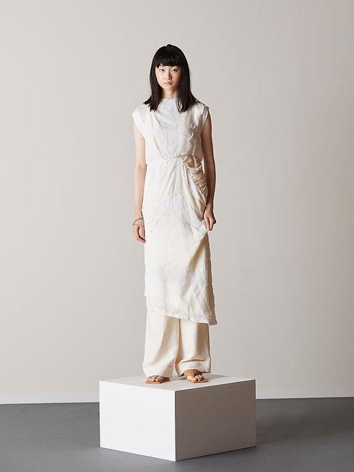 Patch detail asymmetric midi dress