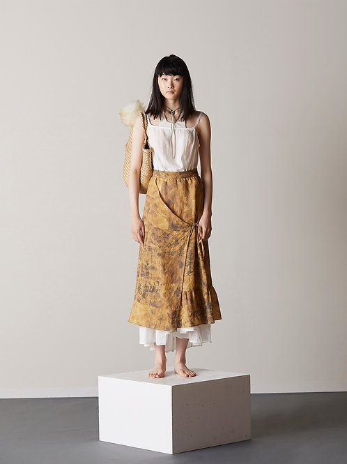 Printed asymmetric wrap skirt