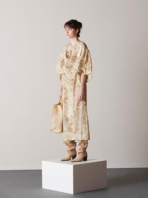 Printed drape midi dress