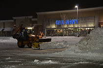 Clearing snow from parking lot