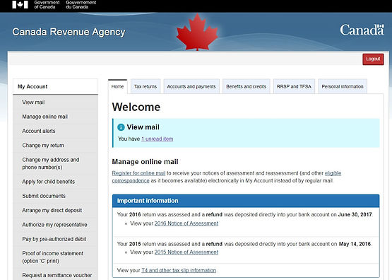 """My Account"""": Online Access to your CRA Account"""