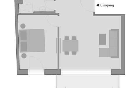 Grundriss, cosy grey apartment 'comfort - double'
