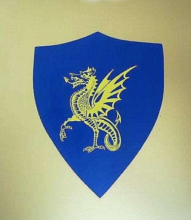 Dragon jaune sur fond bleu