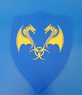 Dragon jaune sur fond bleu grand modèle