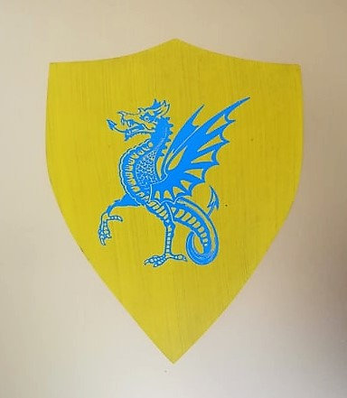 Dragon bleu sur fond jaune