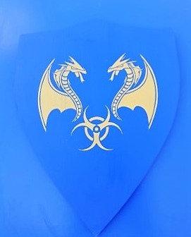 Dragon cracheur jaune sur fond bleu
