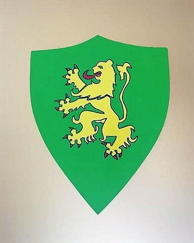 Lion jaune sur fond vert