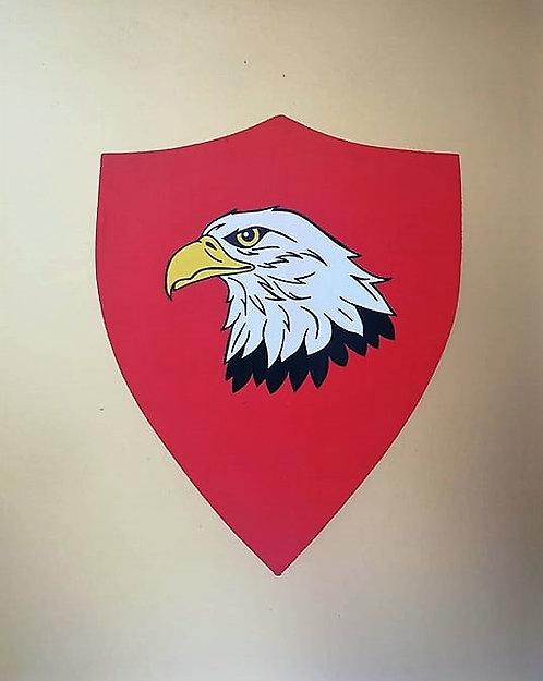 Tête d'aigle sur fond rouge