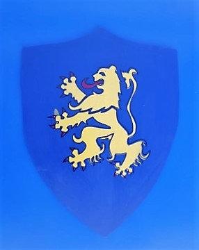 Lion jaune sur fond bleu grand modèle