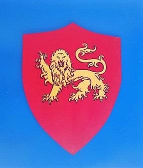 Lion 4 pattes jaune sur fond rouge grand modèle