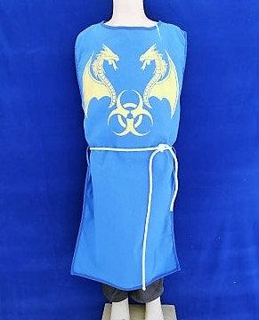 Tabar dragon bleu/or 100% coton