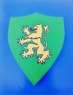 Lion debout jaune fond vert
