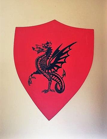 Dragon noir sur fond rouge
