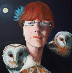 Self Portrait with Owls