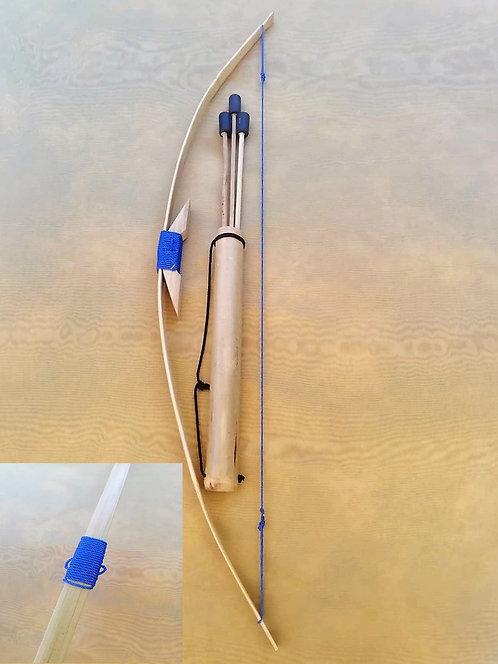 Grand arc natuel bleu avec son carquois et 3 flèches