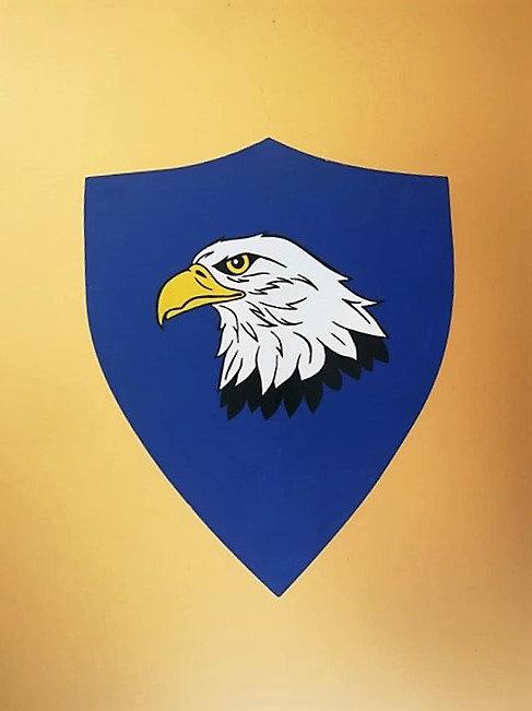 Tête d'aigle sur fond bleu