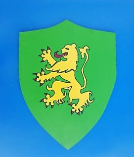 Lion jaune sur fond vert grand modèle