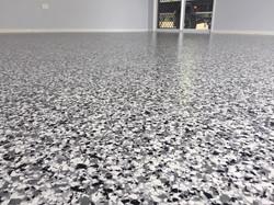 Car port epoxy flake flooring