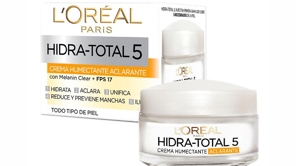 Crema Facial Humectante LOréal París Hidra Total 5 Aclarante Anti manchas 50 ml