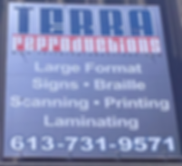 sign, Terra, printing, scanning, large format, braille, Ottawa, Canada, North America
