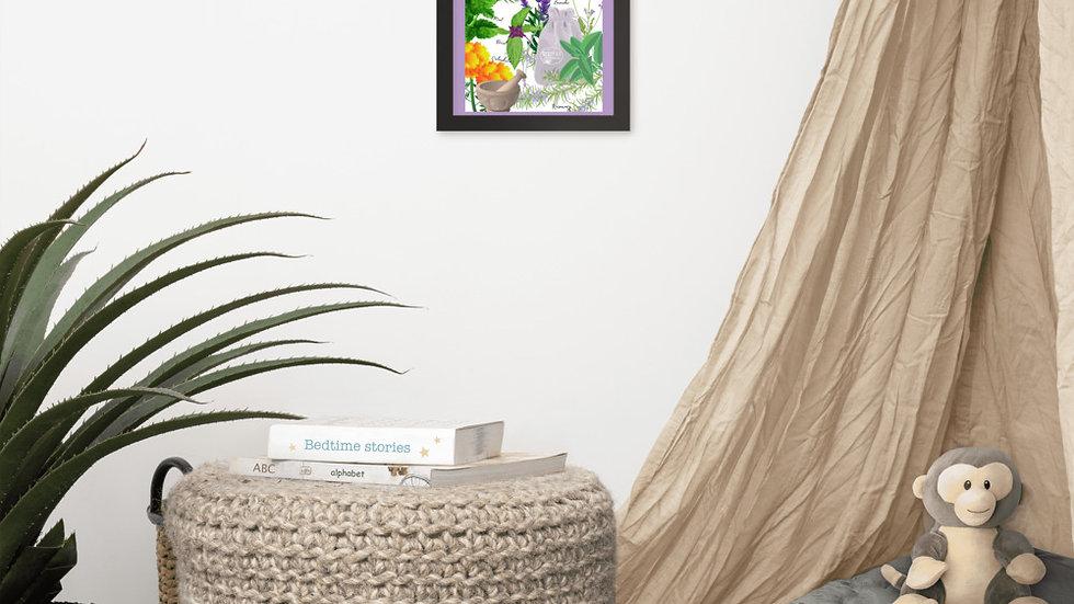 Framed herb poster