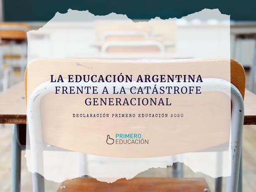 LA EDUCACIÓN ARGENTINA FRENTE A LA CATÁSTROFE GENERACIONAL | Declaración | Octubre 2020