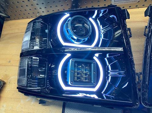2008-2013 Silverado custom headlights w/ Projectors, LED cubes, and halos