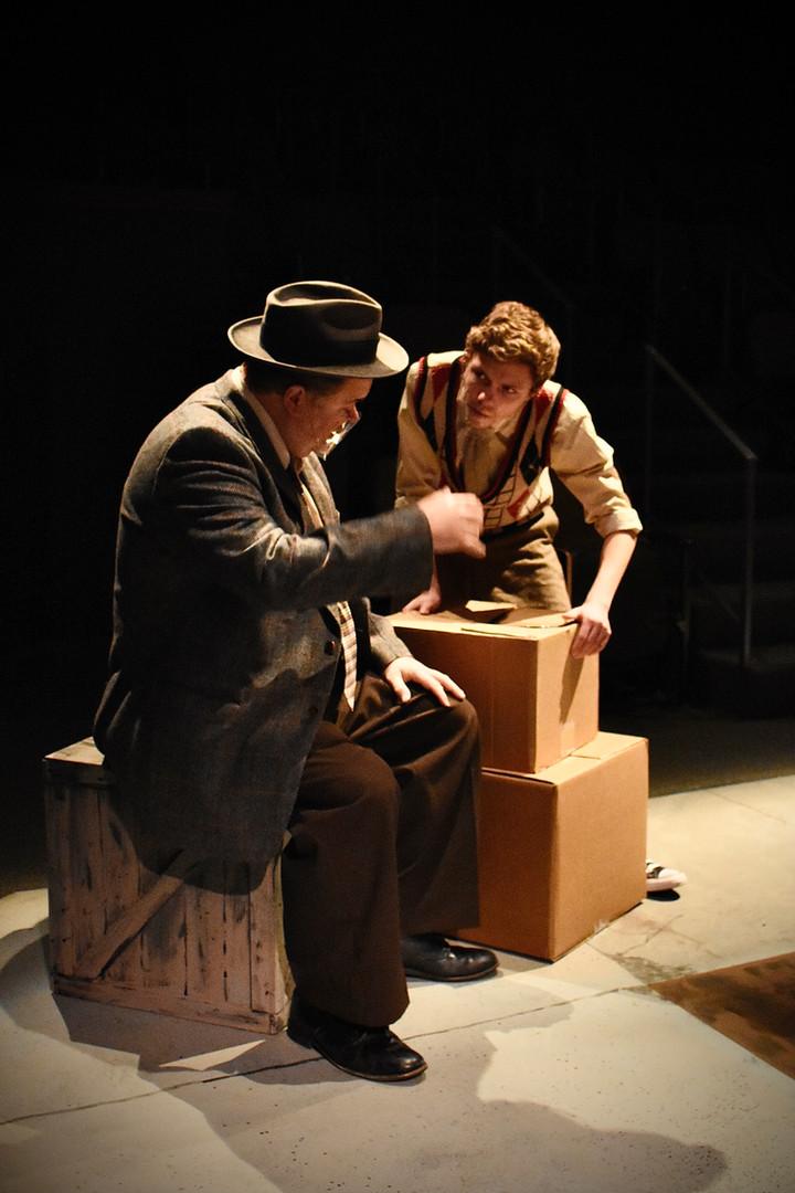 """Brighton Beach Memoirs."" Community Theatre Leage, Williamsport, PA. 2020 Director: Jonathan Hetler Costume Design: William A Young (Left to Right) Jason Kriner as Jack, Adam Fox as Eugene"