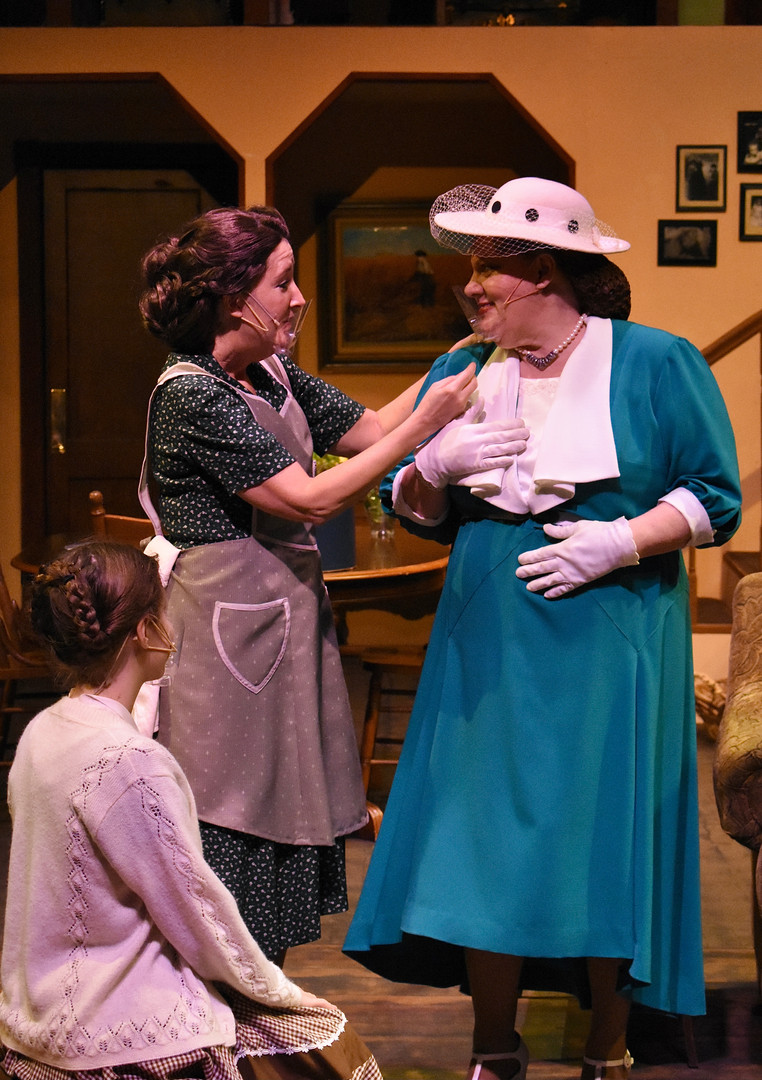 """Brighton Beach Memoirs."" Community Theatre Leage, Williamsport, PA. 2020 Director: Jonathan Hetler Costume Design: William A Young (Left to Right) Hannah Bastian as Laurie, Marie Fox as Kate, Samantha Storm as Blanche"