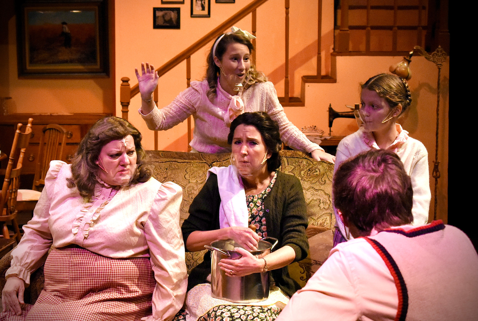 """""""Brighton Beach Memoirs."""" Community Theatre Leage, Williamsport, PA. 2020 Director: Jonathan Hetler Costume Design: William A Young (Left to Right) Samantha Storm as Blanche, Marie Fox as Kate ) on sofa), Sloan Wood as Nora (behind sofa), Adam Fox as Eugene, Hannah Bastian as Laurie"""