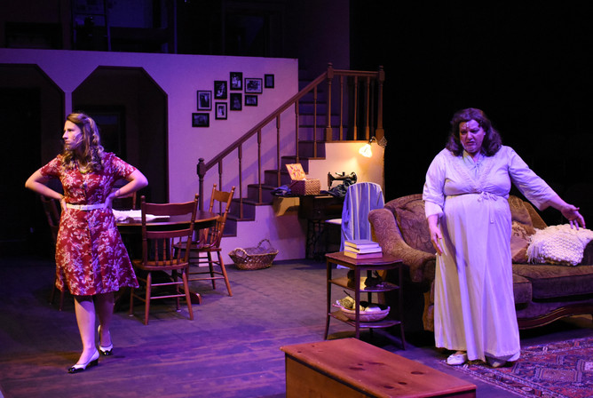 """""""Brighton Beach Memoirs."""" Community Theatre Leage, Williamsport, PA. 2020 Director: Jonathan Hetler Costume Design: William A Young (Left to Right) Slaon Wood as Nora, Samantha Storm as Blanche"""