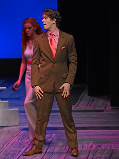 """""""Legally Blonde: The Musical."""" Penn State School of Theatre, 2018. Costume Design: Austin M. Rausch. Actor: Aidan Cole. Draper/Tailoring: William A. Young. Firsthand/Stitcher: Megan Woods."""