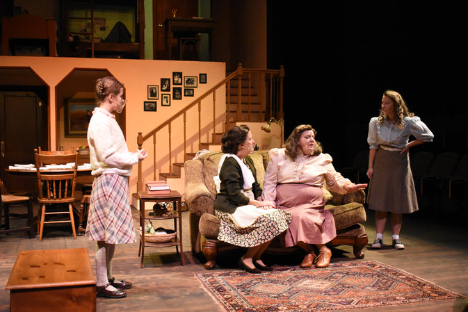 """""""Brighton Beach Memoirs."""" Community Theatre Leage, Williamsport, PA. 2020 Director: Jonathan Hetler Costume Design: William A Young (Left to Right) Hannah Bastian as Laurie, Marie Fox as Kate, Samantha Storm as Blanche, Sloan Wood as Nora"""