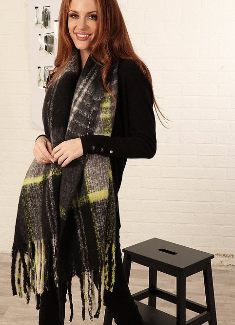 A Black Yellow Traditional Check Tasseled Blanket Scarf.