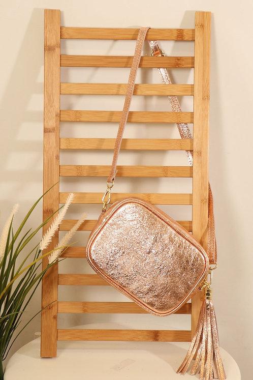 Rose Gold Leather tassle bag- Metallic