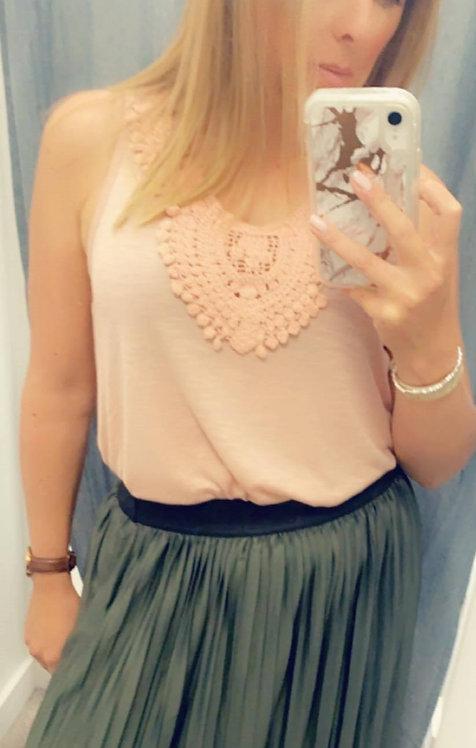 Crochet detail sleeveless top