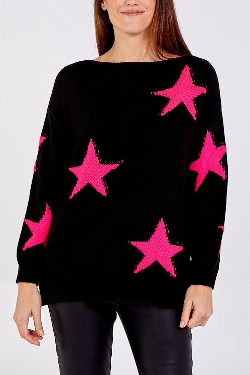 Slash neck - Star knit jumper