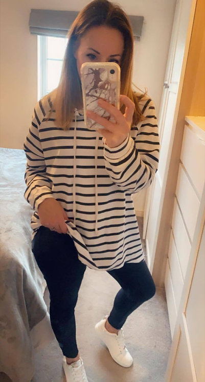 Casual stripe hooded top -Wht/blk