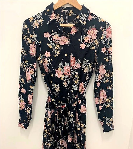 Floral woven shirt dress