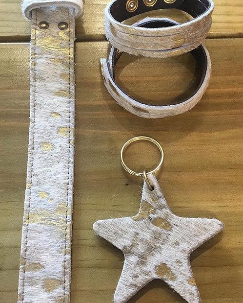 Burnout Leather belts ,Gold - Pattern cow hide