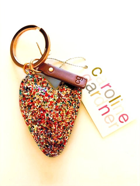 Glitter heart Key ring