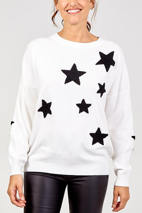 Scattered star crew neck