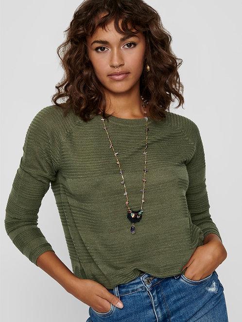khaki Ribbed patterned Knit