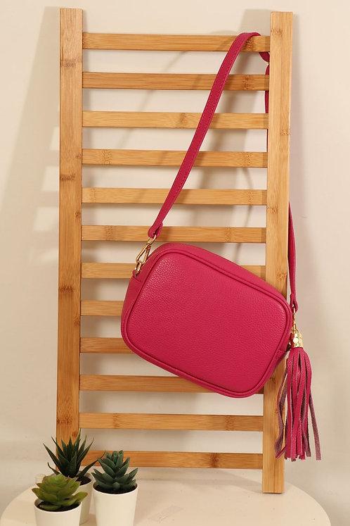 Raspberry Leather tassle bag
